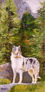 Collie Prints - Smooth Collie Hiker Print by Susan A Becker