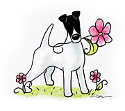 Sympathy Drawings Metal Prints - Smooth Fox Terrier - Spring Puppies Metal Print by Connie Krohn