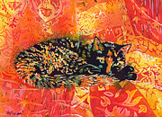 Poured Watercolours Paintings - Smudge A Tortoiseshell Cat by Catherine Martha Holmes