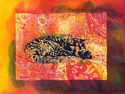 Poured Watercolour Posters - Smudge A Tortoiseshell Cat with border Poster by Catherine Martha Holmes