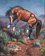 Reptiles Painting Prints - Sn neigh kk Print by Kerry Nelson
