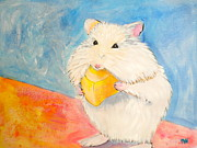 White Mouse Prints - Snack Time Print by Debi Pople