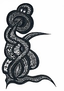 Batik Drawings Posters - Snake Dance from Soul beings from Heaven Poster by Robert Prins