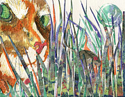 Mouse Mixed Media Posters - Snake in the Grass Poster by Marie Stone Van Vuuren