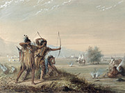 Plains Indian Paintings - Snake Indians Testing Bows by Alfred Jacob Miller
