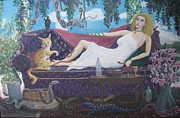 Reptiles Painting Prints - Snake Lady Print by Ronald Barnes