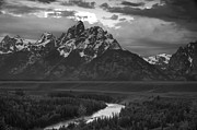 River. Clouds Posters - Snake River in the Tetons Poster by Andrew Soundarajan