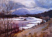 Winter Storm Painting Prints - Snake River Looking South Print by Kris Parins