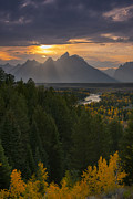 Grand Tetons Posters - Snake River Sunset Poster by Joseph Rossbach