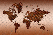 World Map Print Art - Snake Skin World Map by Zaira Dzhaubaeva
