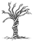 Snakes Drawings Prints - Snake Tree Print by Karen Sirard