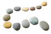 Brown Photo Prints - Snaking Line of Twelve Pebbles Steps Isolated Print by Colin and Linda McKie