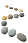 Stepping Prints - Snaking Line of Twelve Pebbles Steps Isolated Vertical Print by Colin and Linda McKie