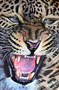 Tongue Painting Originals - Snarling Leopard by Shirl Theis