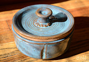 Clay Ceramics Metal Prints - Snickerhaus Pottery-Vessel With Lid Metal Print by Christine Belt