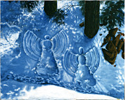 Snowscape Paintings - Snoe Angels by Fine  Art