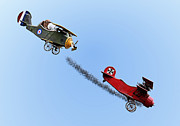 Snoopy And The Red Baron Print by Kristin Elmquist