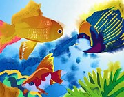 Bluegill Digital Art - Snorkeling Buddies by Martha Galan