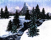 Snow And A Cold Mountain Brook Painterly  Print by Barbara Griffin