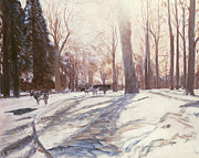 Cattle Paintings - Snow at Broadlands by Paul Stewart