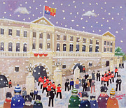 Police Christmas Card Paintings - Snow at Buckingham Palace by William Cooper