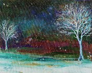 Snowy Trees Paintings - Snow at Twilight by Mary Wolf