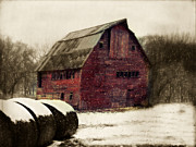 Country Art Prints - Snow Bales Print by Julie Hamilton