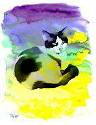 Pets Art Digital Art Originals - Snow ball Cat in Watercolor  by Teodora Atanasova