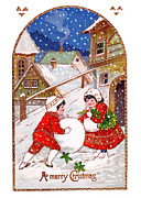 Cards Vintage Prints - Snow Ball Print by Munir Alawi