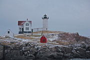 Cape Neddick Lighthouse Prints - Snow Beacon Print by Sheryl Bergman