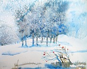 Snowfall Paintings - Snow Blizzard in the Grove  by Trudi Doyle