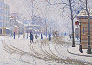 European Street Scene Prints - Snow  Boulevard de Clichy  Paris Print by Paul Signac