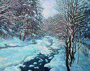 New England Snow Scene Metal Prints - Snow Bound Brook Metal Print by Gerard Natale