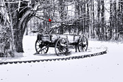 Canvas. Poster. Greeting Card. Christmas Card. Old Wagon. Vintage Wagon. Antiques. Woods. Trees. Forest. Path. Framed Prints - Snow Bound Framed Print by Mary Timman