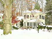 Snowed Trees Prints - Snow Bound Victorian Home Print by Dorothy Walker