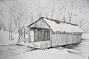 Winter Prints Drawings Framed Prints - Snow Bridge 2012  Framed Print by Tammie Temple