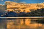 Lake Mcdonald Prints - Snow Cap Reflections Print by Adam Jewell