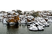 Snow-coated Granite Dells Print by Jag Fergus