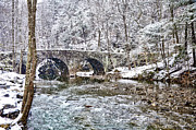 Wintery Digital Art Prints - Snow Coming Down on the Wissahickon Creek Print by Bill Cannon