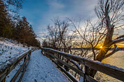 Waukesha County Posters - Snow Covered Boardwalk Poster by Randy Scherkenbach