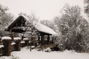 Covered Bridge Art Prints - Snow Covered Bridge Print by Robert Frederick