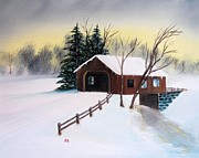 Snow Covered Pine Trees Paintings - Snow Covered Bridge by John Burch