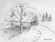Covered Bridge Drawings Posters - Snow Covered Bridge Poster by Richard Beard