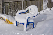 Snow Covered Chair Print by Thomas Woolworth
