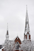 New England Snow Scene Metal Prints - Snow Covered Church Metal Print by Staci Bigelow