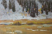 Winter Scenes Rural Scenes Pastels Prints - Snow covered deadfall Murphys creek Wyoming Print by Doyle Shaw