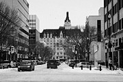 Sask Prints - snow covered downtown Saskatoon Saskatchewan Canada Print by Joe Fox