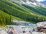 Consolation Digital Art Metal Prints - Snow-covered End of Consolation Lake in Banff NP-AB Metal Print by Ruth Hager