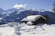 Snow-covered Landscape Photo Prints - Snow-covered house in the mountains in winter Print by Matthias Hauser