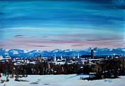 Birdseye Posters - Snow covered Munich Winter Panorama with Alps Poster by M Bleichner